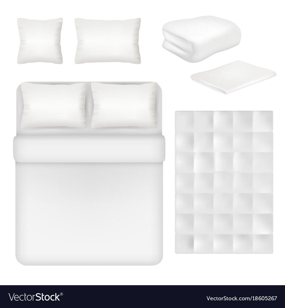 White blank bedding realistic template set