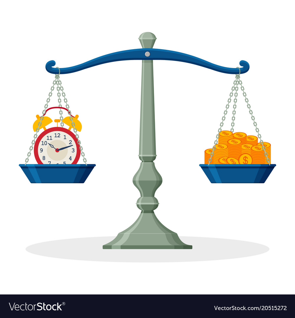 Alarm clock and money on balanced scale business