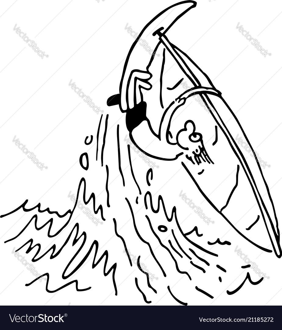 Boy playing windsurfing cartoon