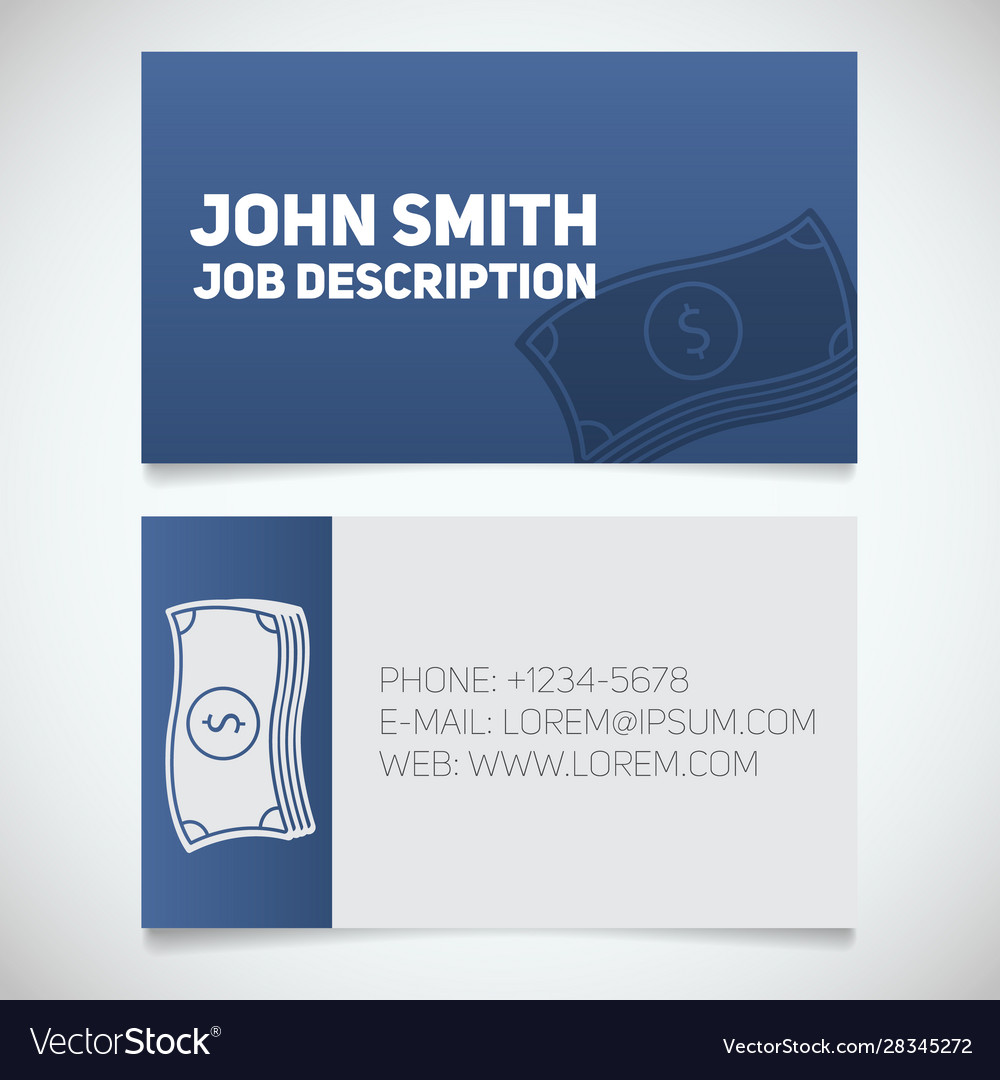 Business Card Print Template With Cash Logo Vector Image