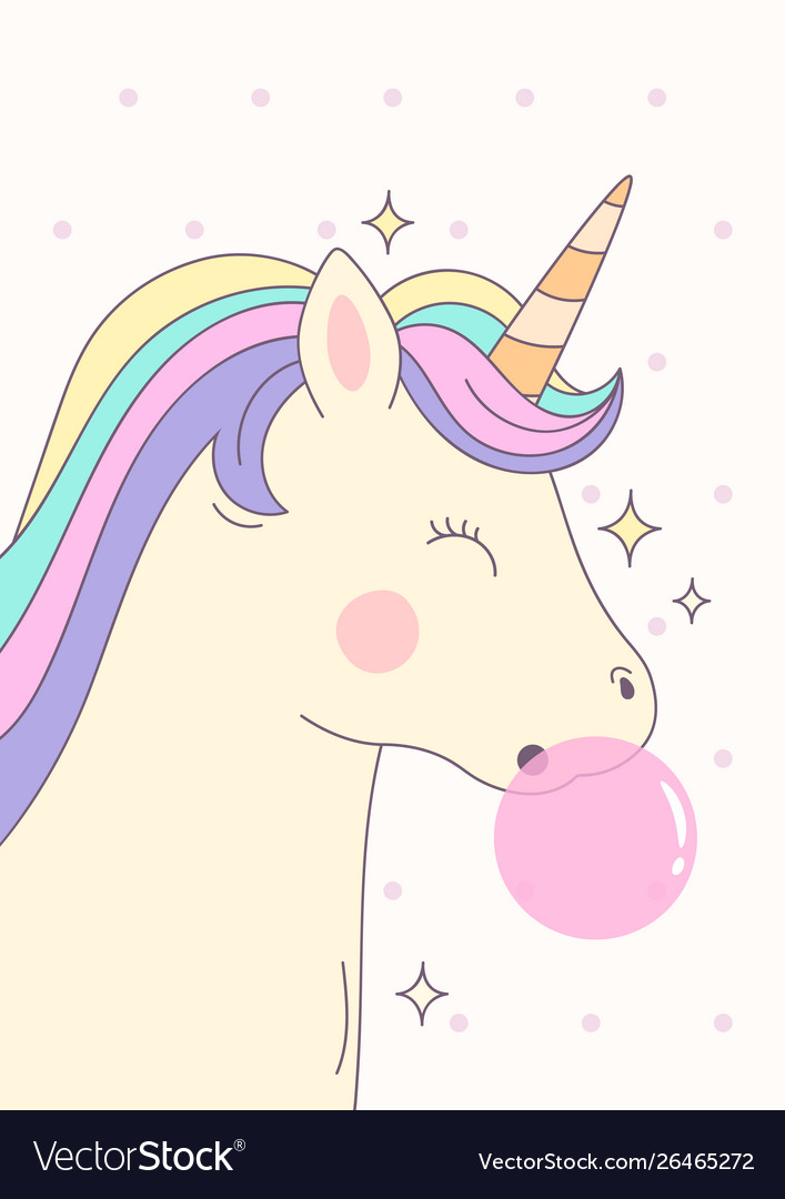 Cute magical unicorn with pink bubble gum