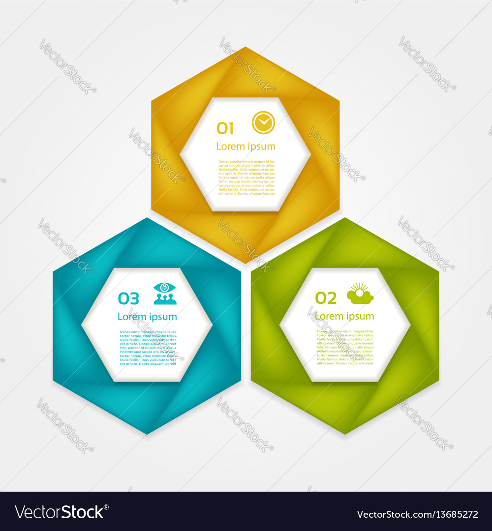 Cyclic diagram with three steps and icon vector image