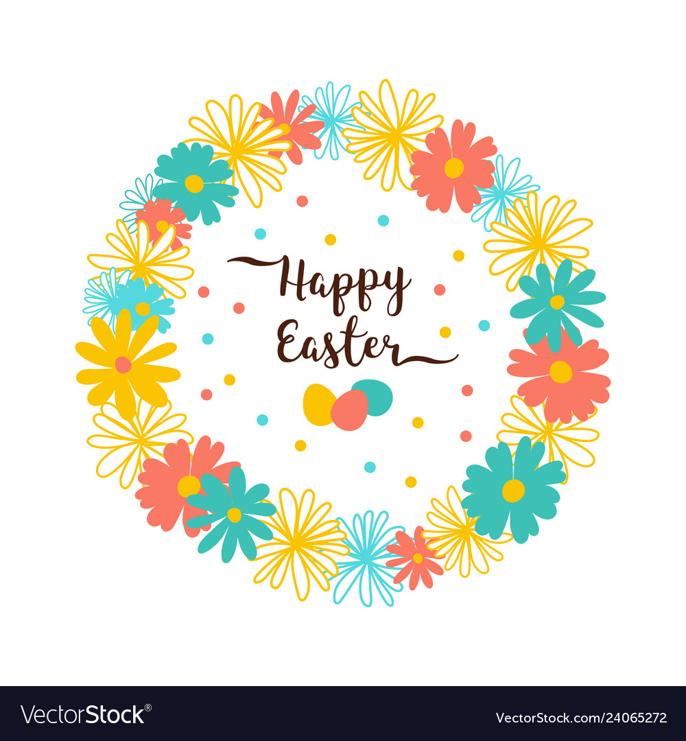 Easter wreath flowers happy easter card