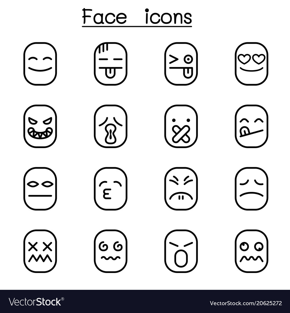 Face icon set in thin line style