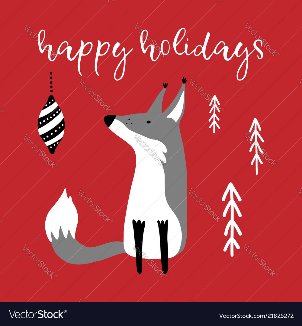 Greeting card with hand drawn cute fox and