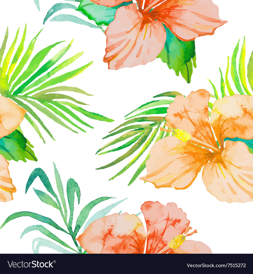 Hibiscus tropical plants seamless pattern