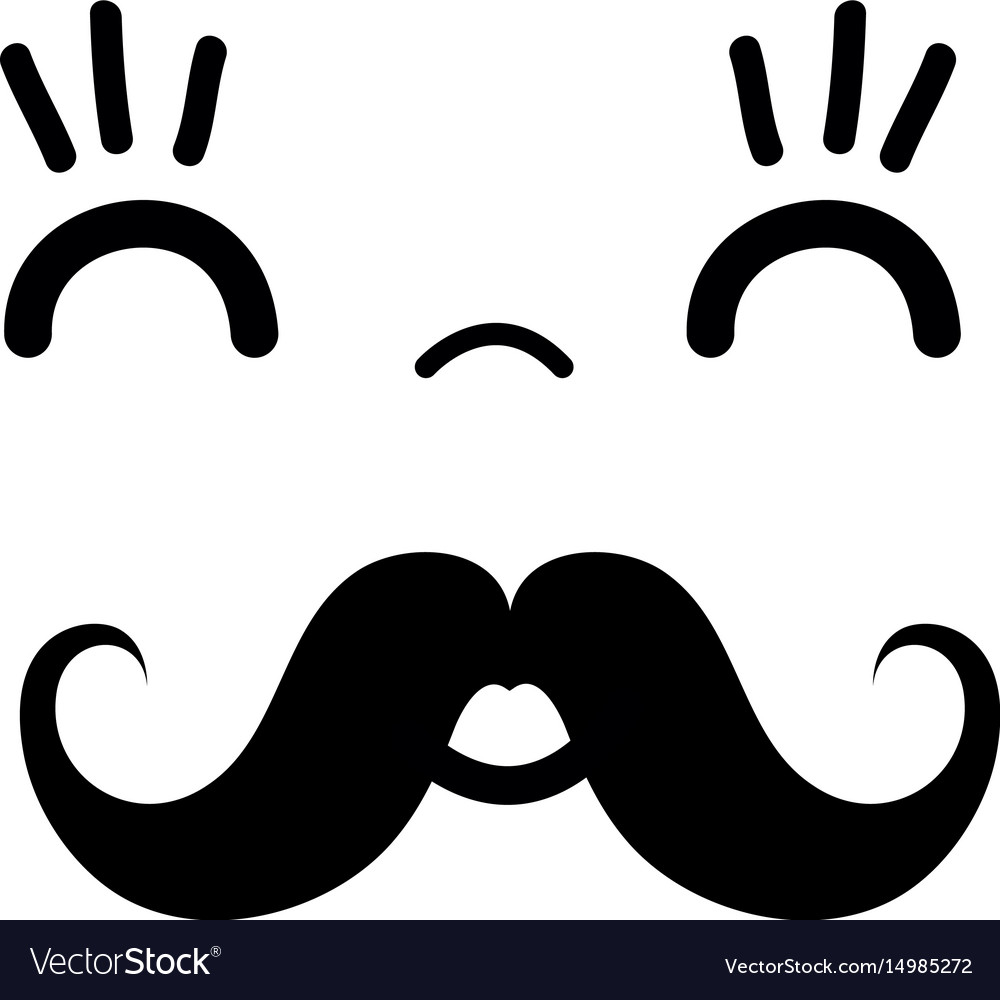 kawaii cute happy face with mustache vector image