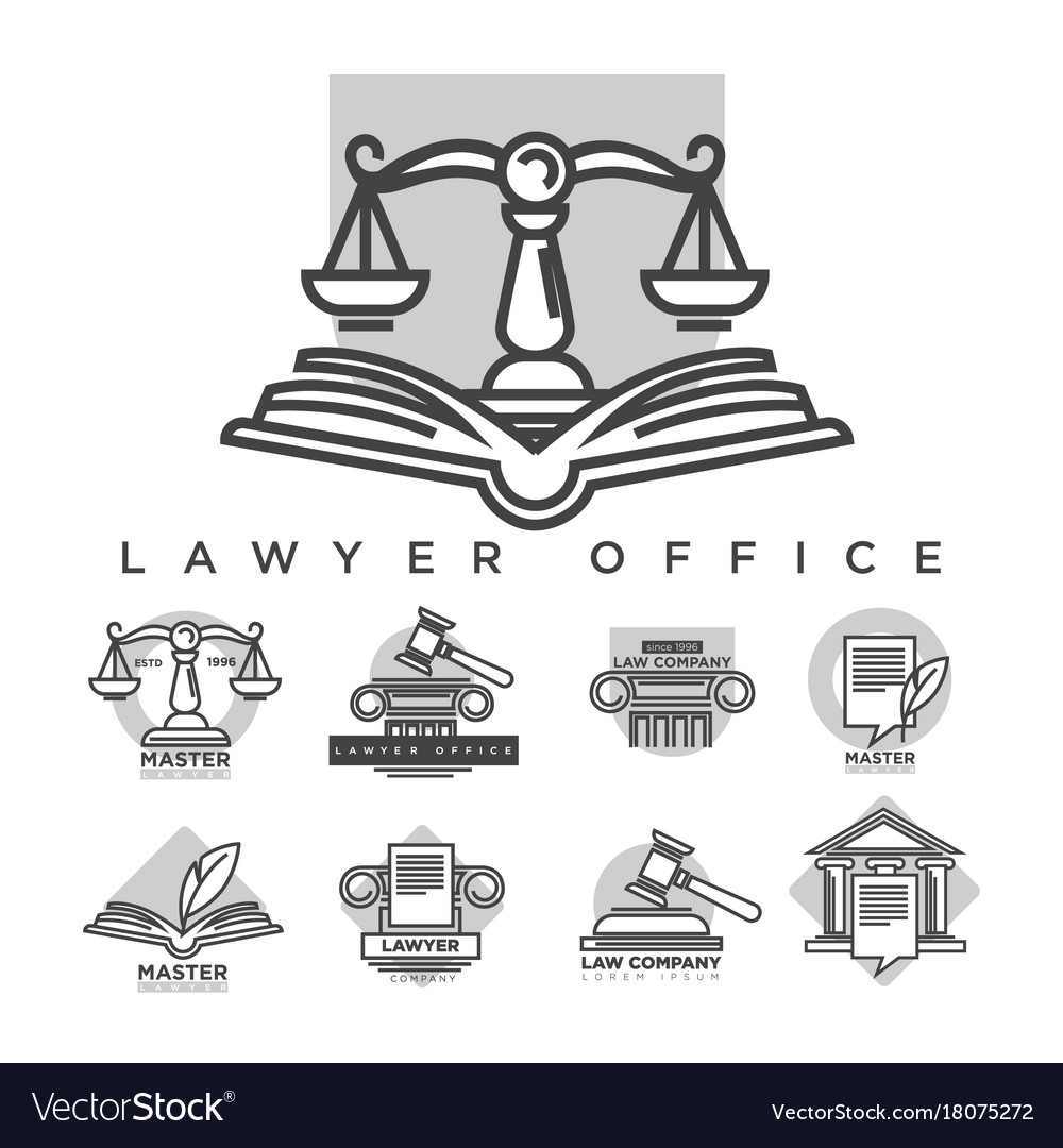 Law company logotypes collection in grey color