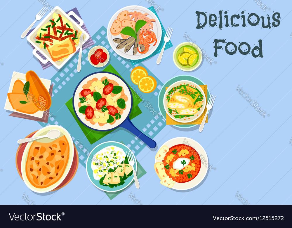 Mediterranean cuisine lunch icon for food design