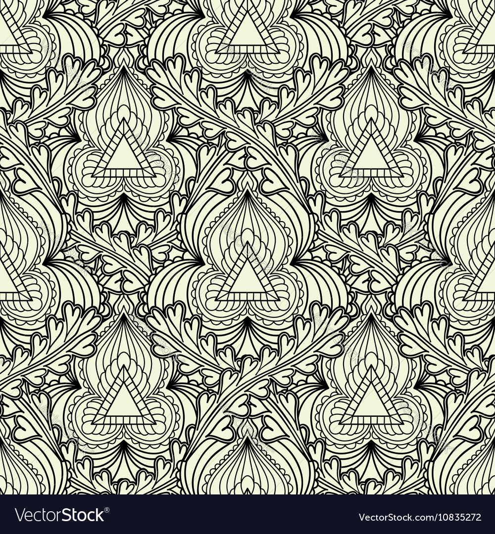 Monochrome seamless pattern in Indian style