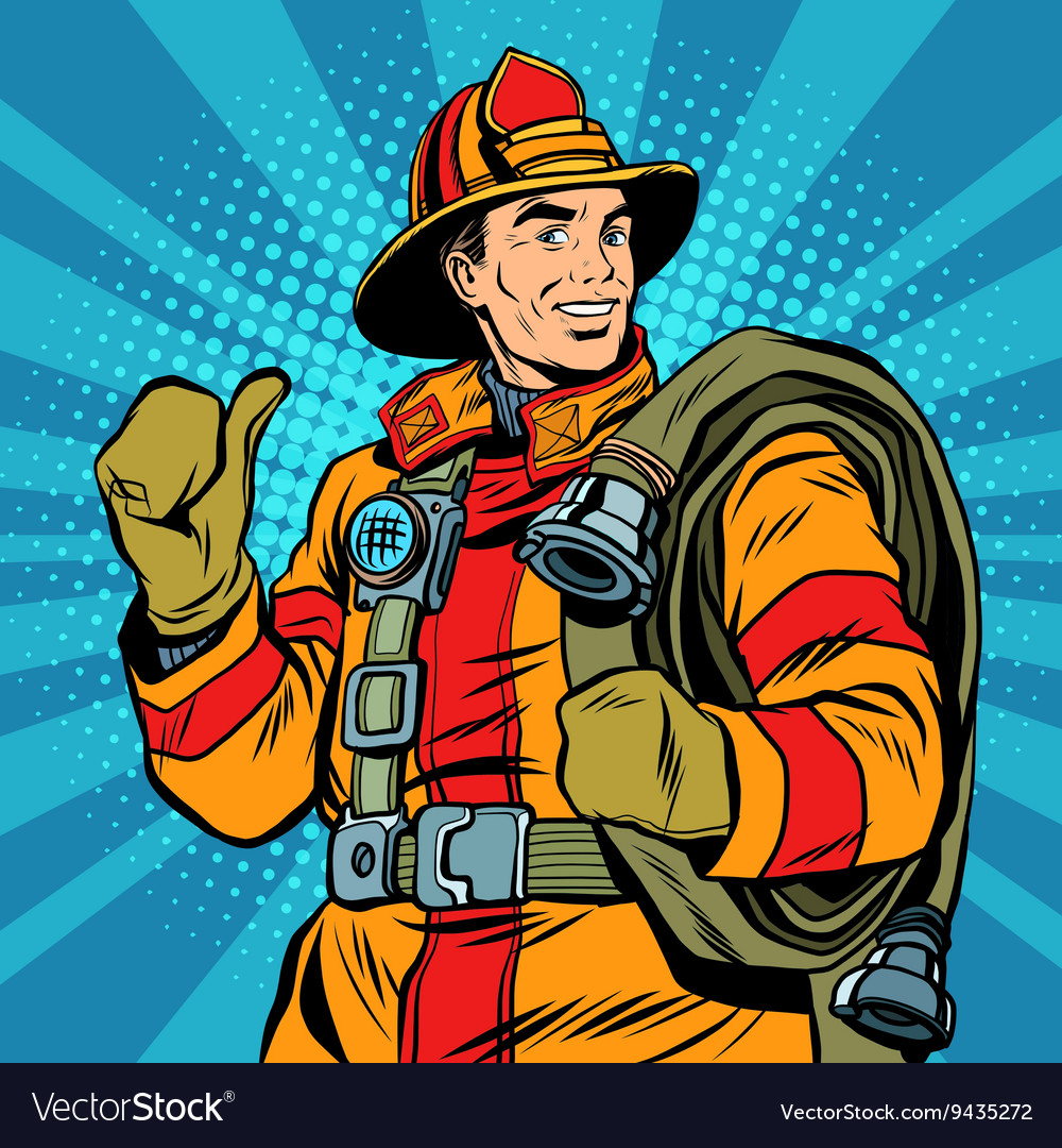 Rescue firefighter in safe helmet and uniform pop vector image