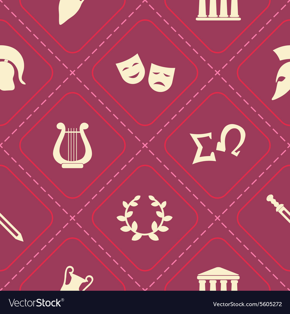Seamless background with greece symbols