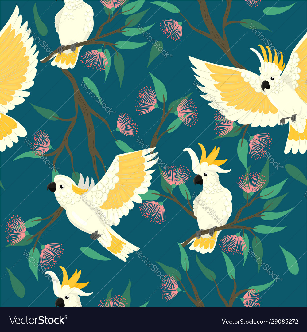 Seamless pattern with cockatoo and flowers