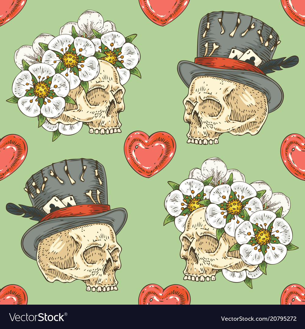 Seamless pattern with skulsl and hearts