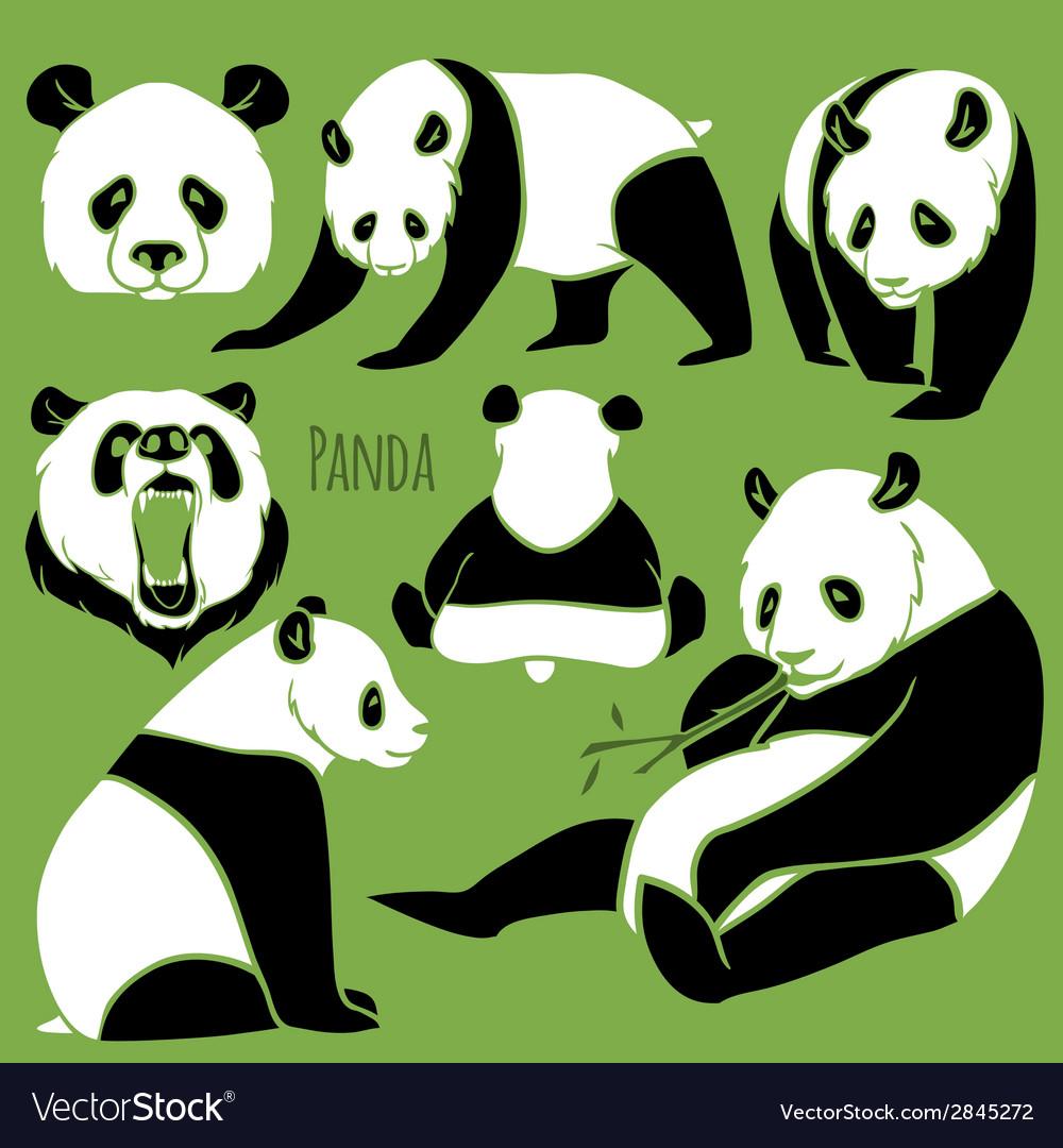 Set of Panda silhouettes set