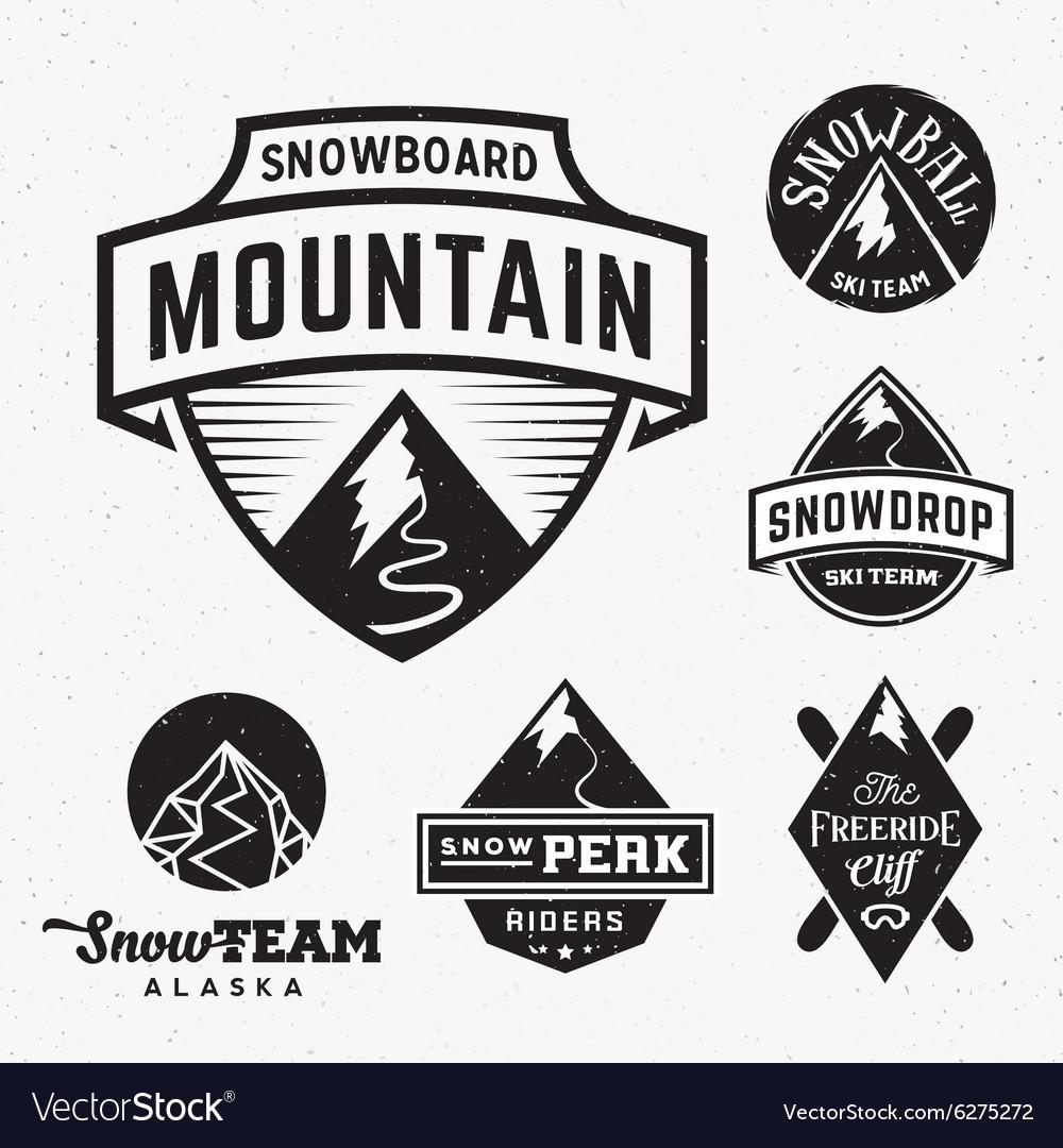 fe91e9a94cf4 Set of Ski Snowboard Snow Mountains Sport Logos or vector image