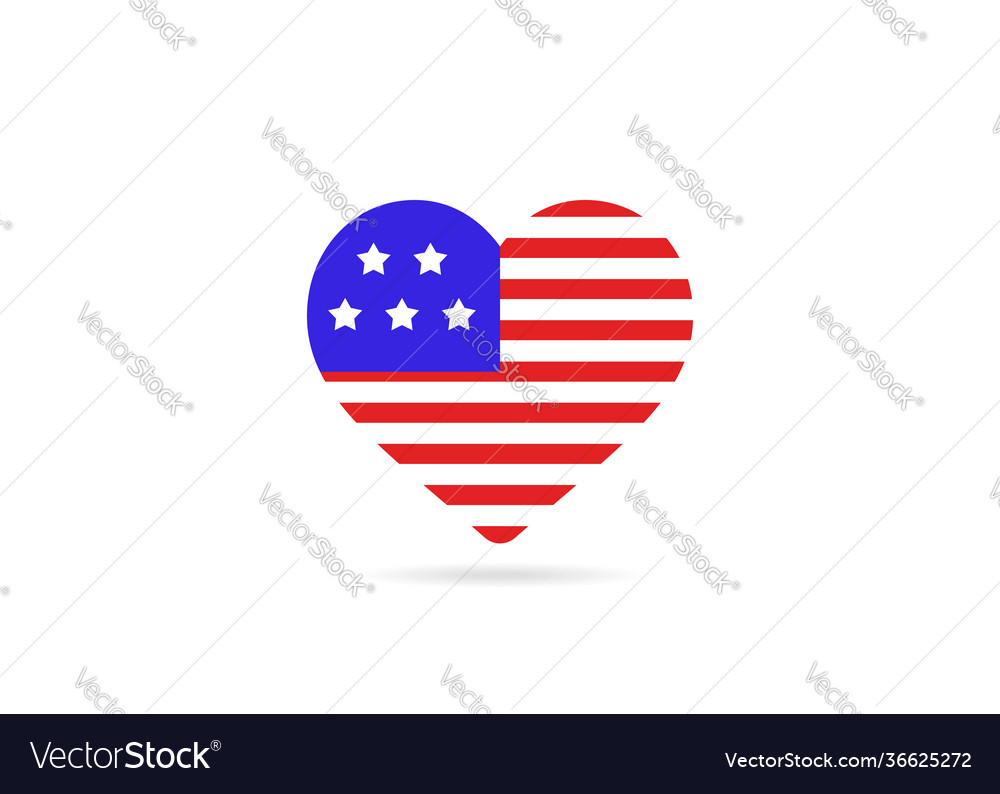 Usa flag inside love