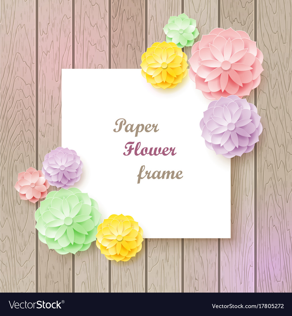 Vintage background with paper flower frame vector image on vectorstock mightylinksfo