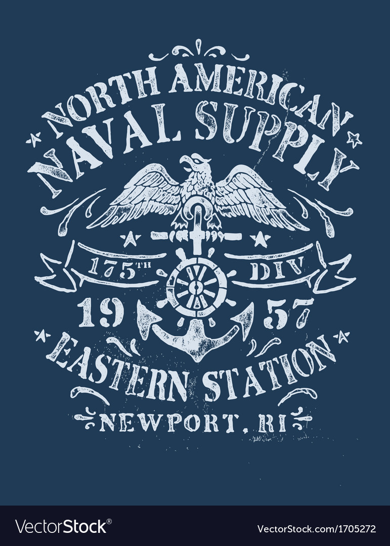 Vintage nautical design for apparel vector