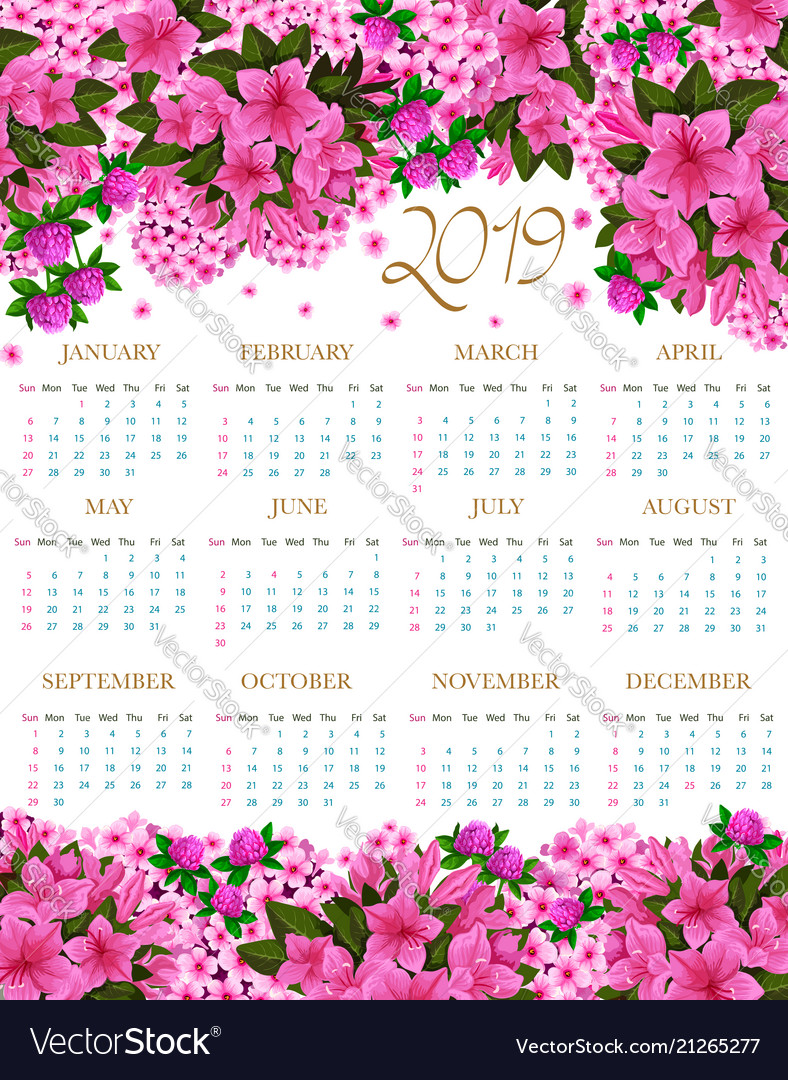 2019 Calendar Of Spring Pink Flowers Royalty Free Vector