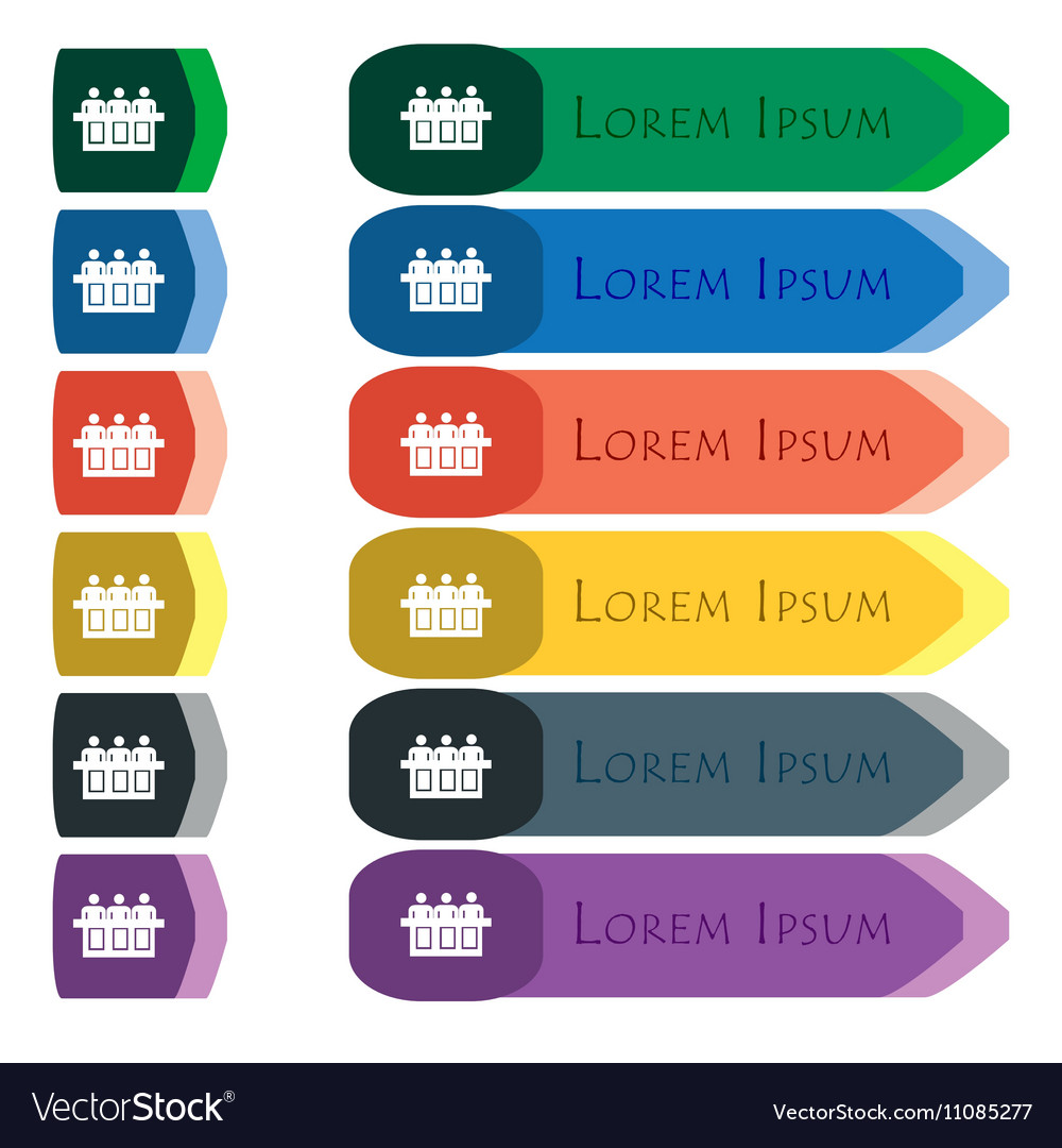 Conference icon sign Set of colorful bright long