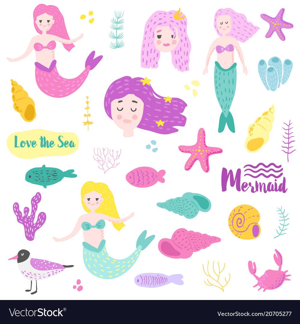 Cute underwater creatures elements with mermaid
