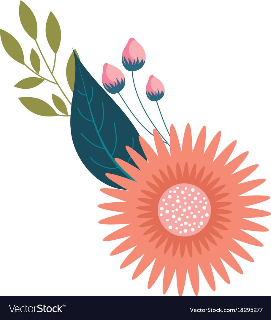 Dahlia flower leaves bud floral ornament vector image izmirmasajfo