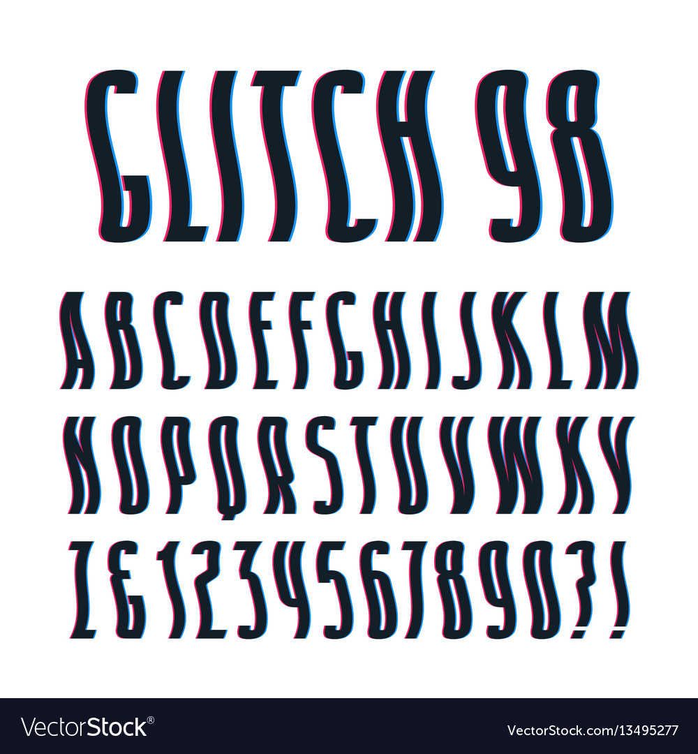 Decorative sanserif font with glitch wavy effect