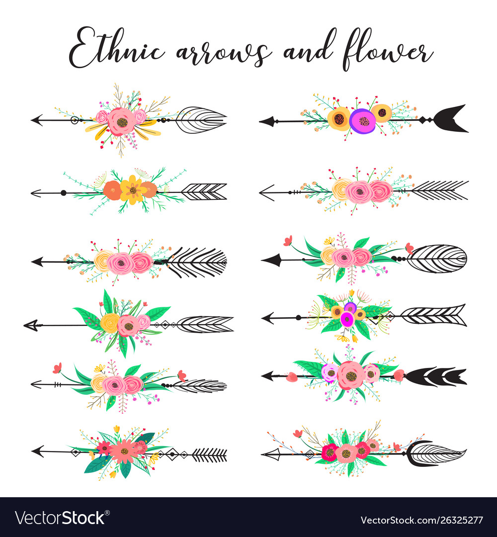 Ethnic arrows and flower