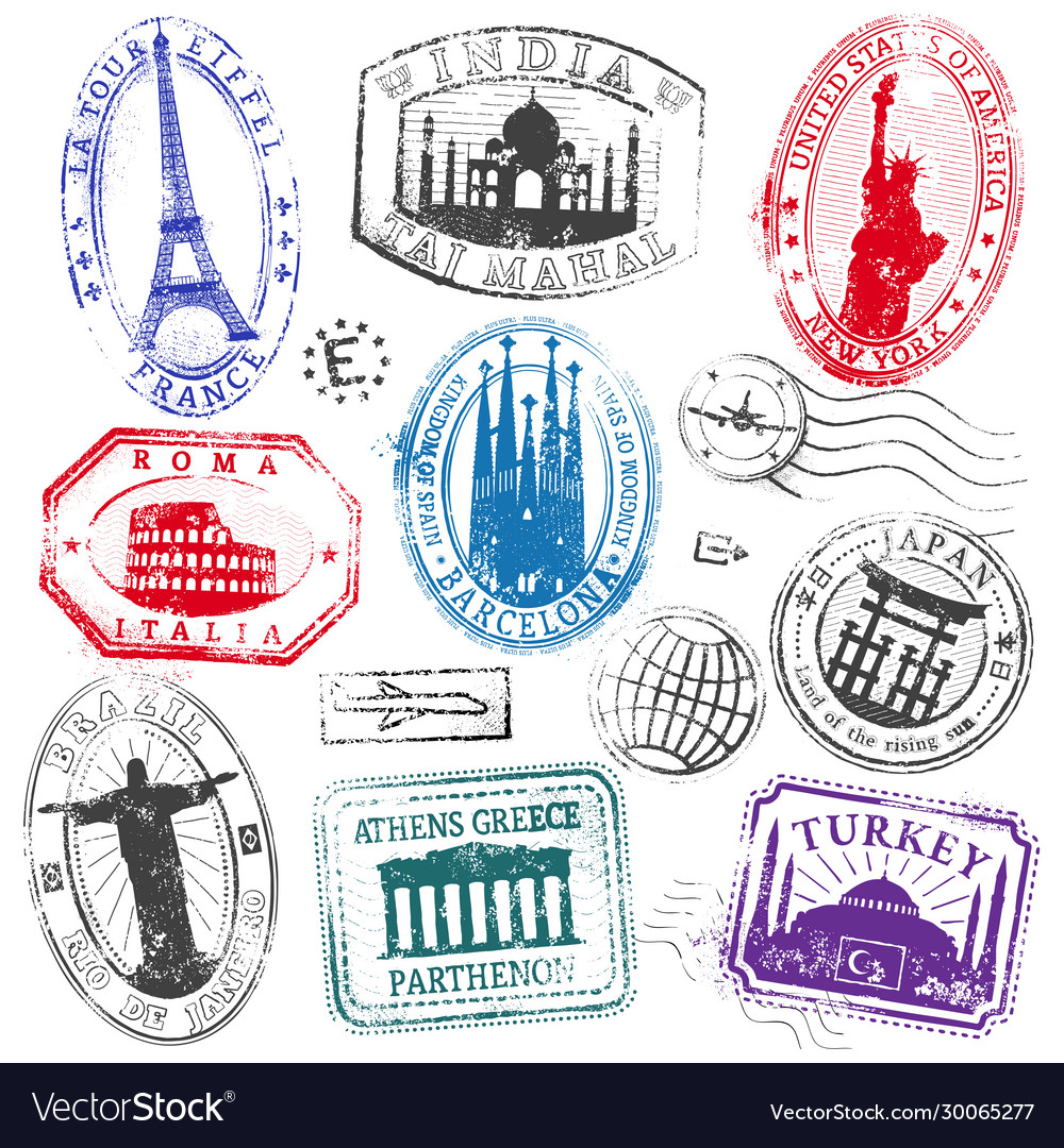 Famous monument travel stamps set1