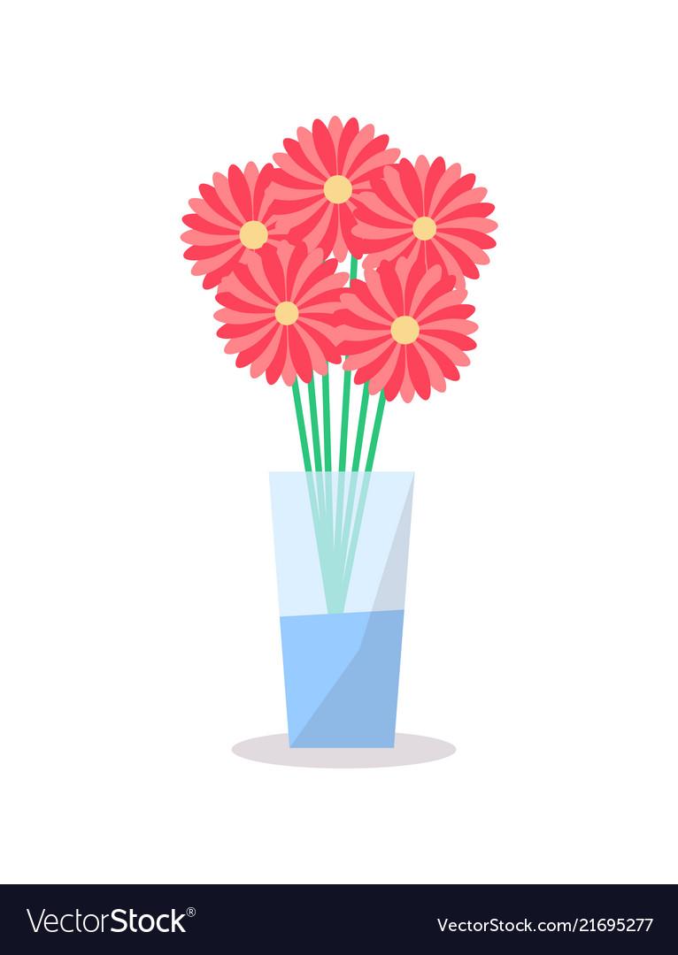 Flowers glass vase icon decorative element
