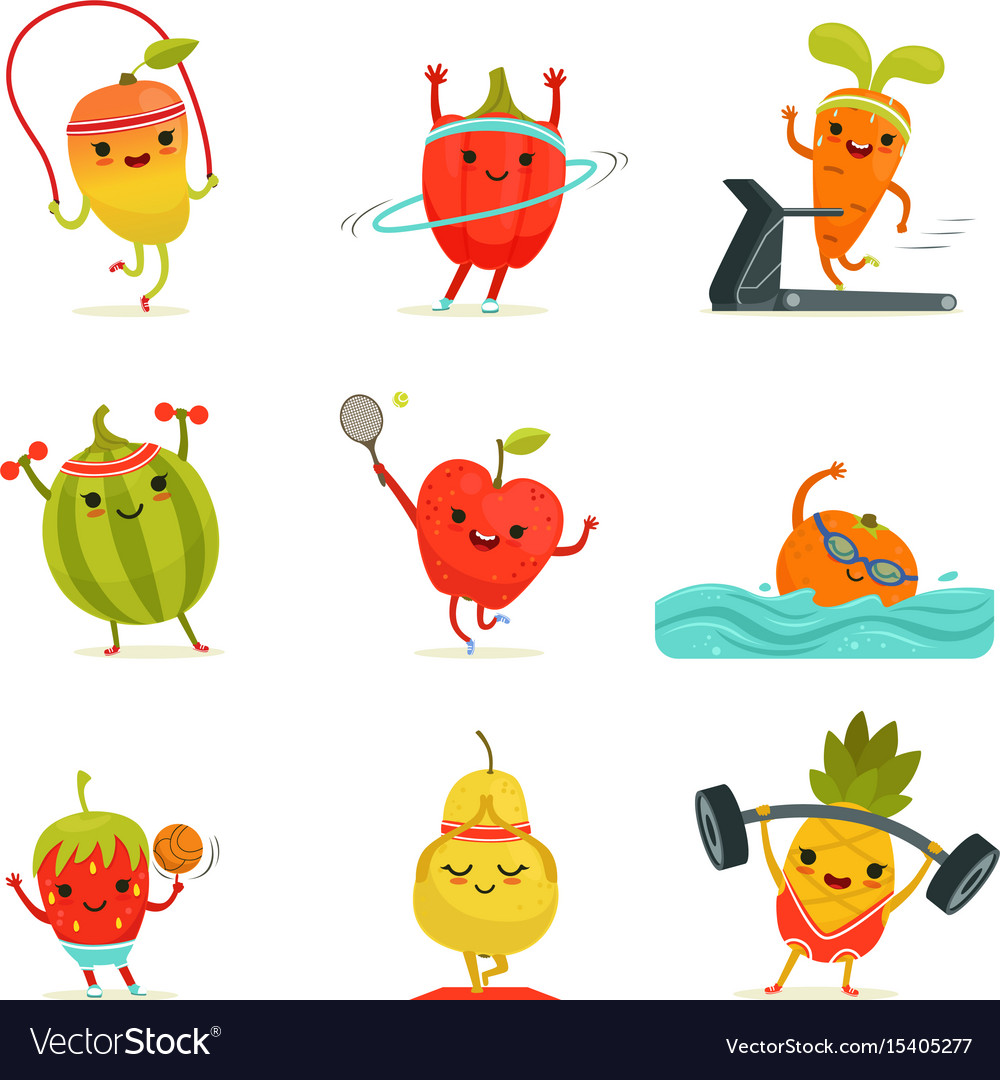 Funny Fruits Make Fitness Exercises Royalty Free Vector