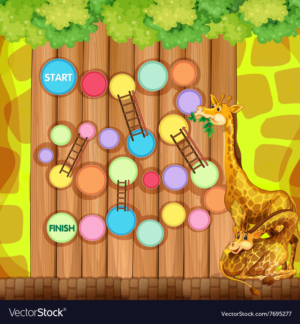 Game template with giraffes in background vector image