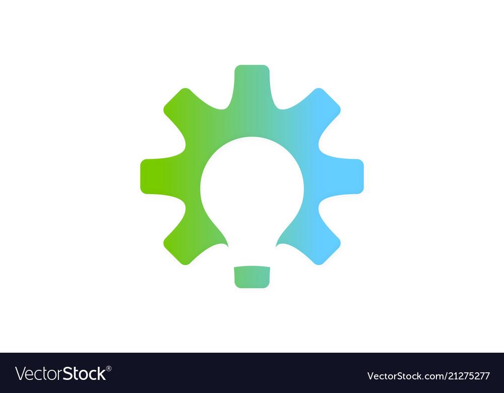 Gear light bulb creative logo