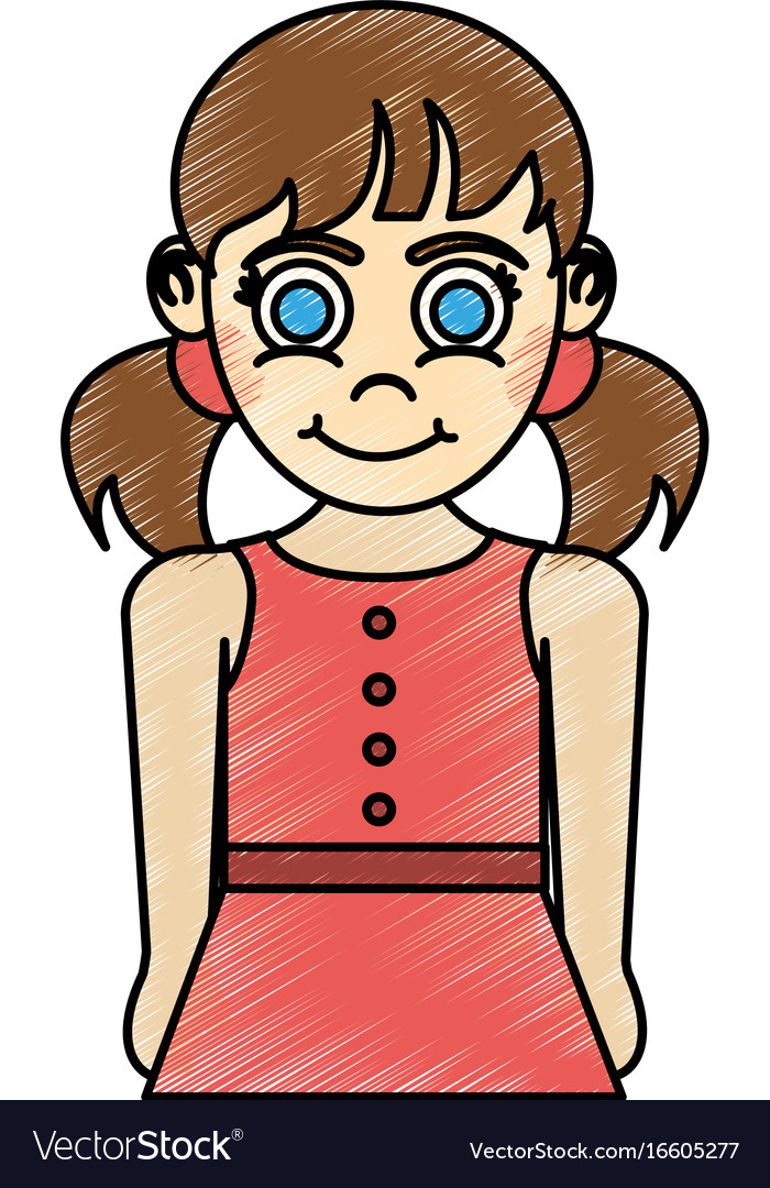 Girl with blue eyes and pigtails happy child icon