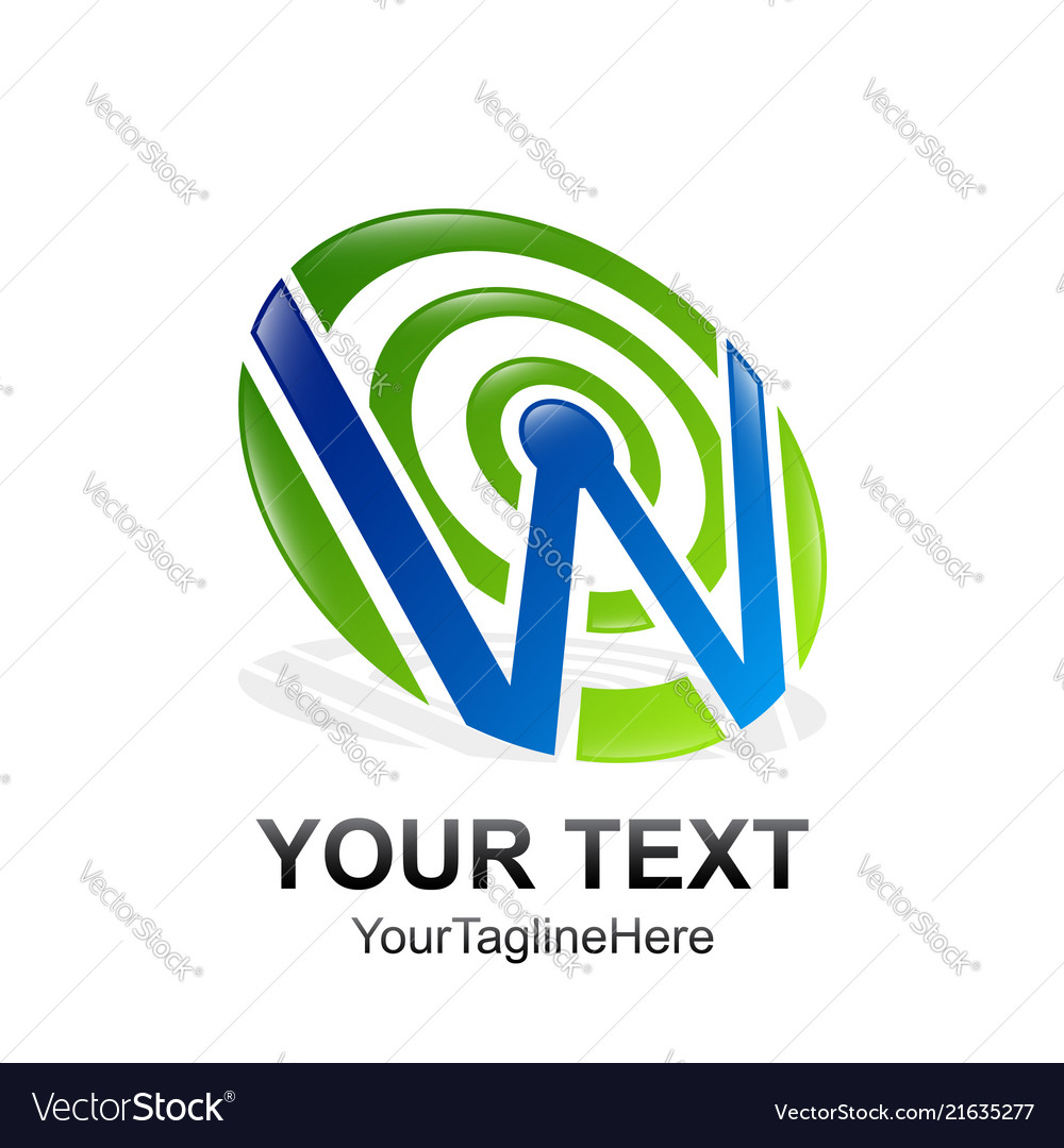 Initial letter w logo template colored blue green