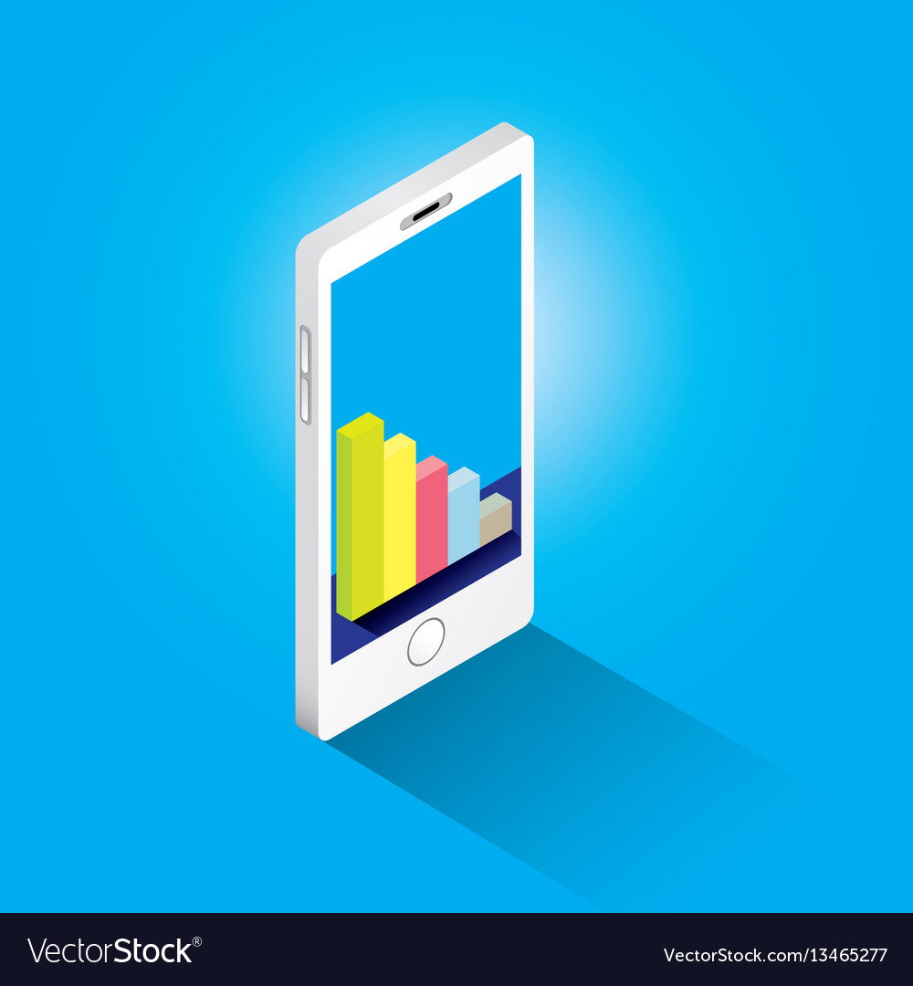 Isometric smartphone with graph and charts