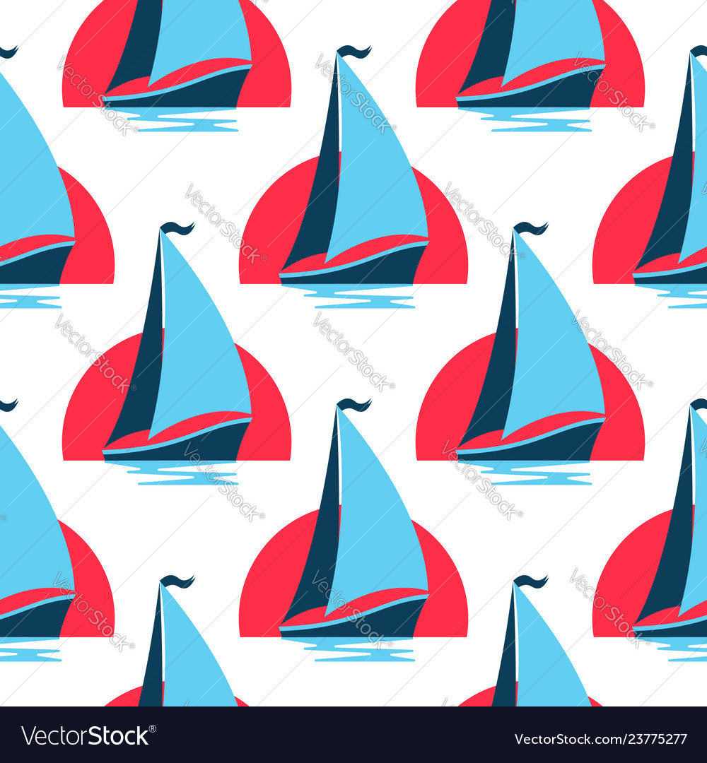 Marine seamless pattern with sailing boat on the