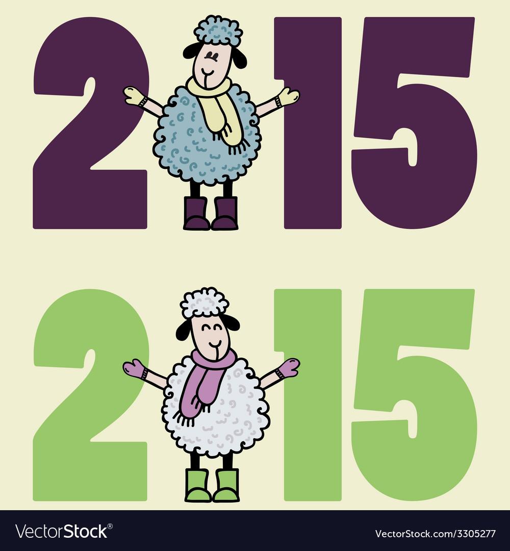 New 2015 year card with cartoon sheep