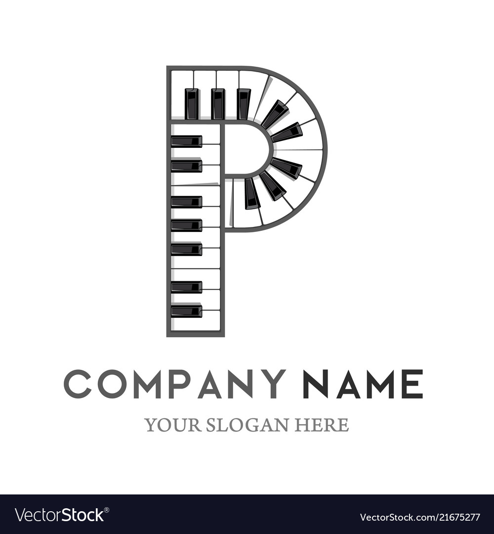 P letter logo design piano keyboard logo