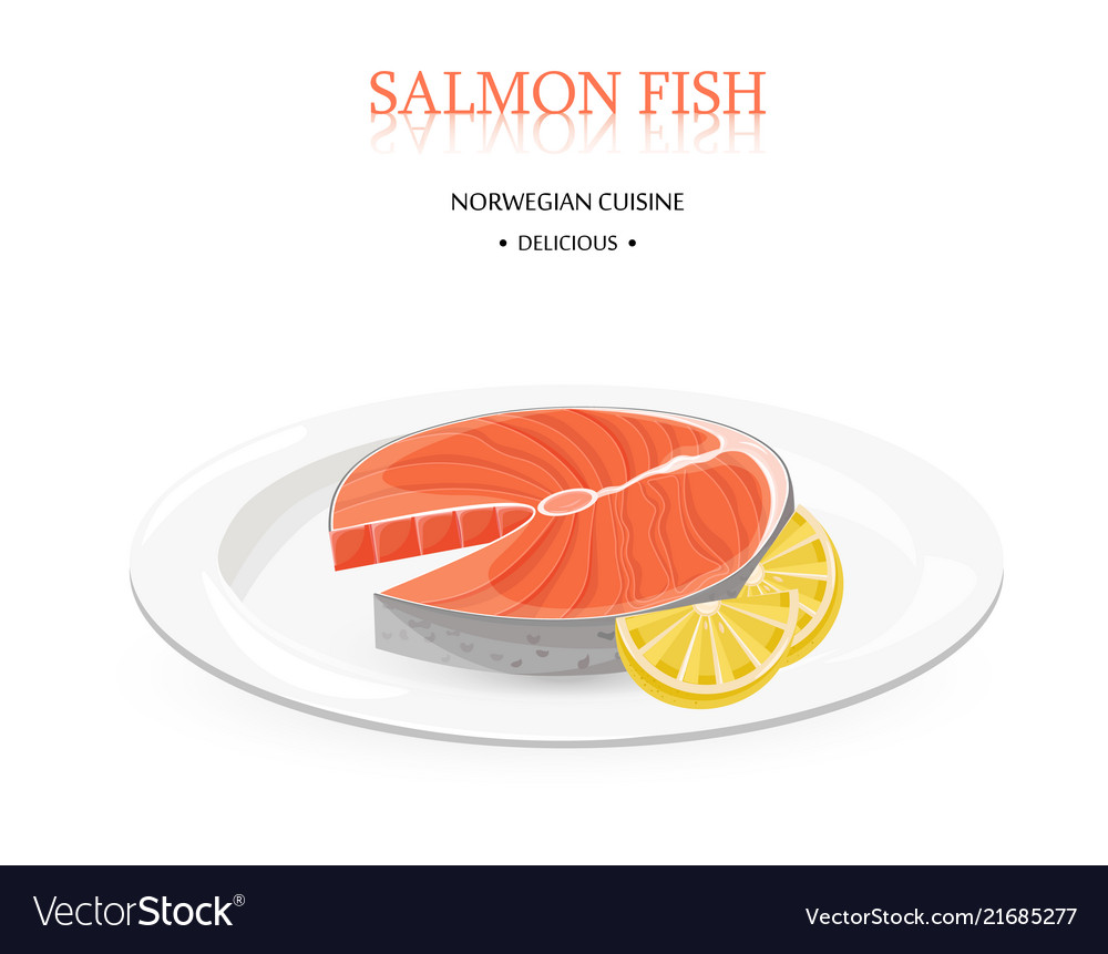 Salmon fish white plate isolated