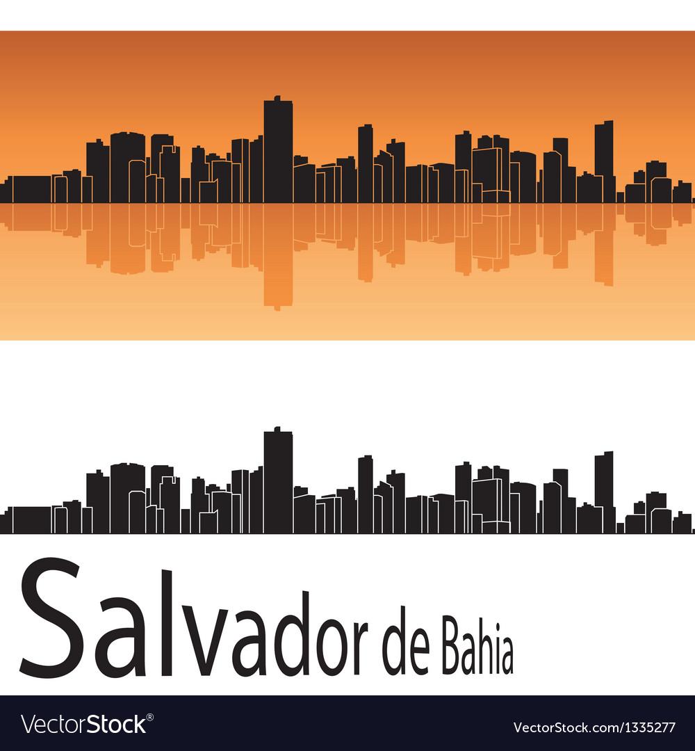 Salvador de Bahia skyline in orange background