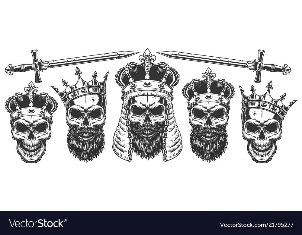Set skulls in crowns