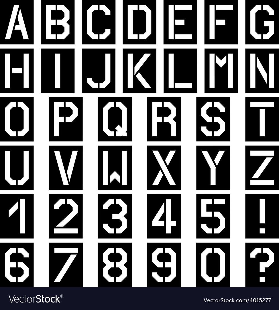 Stencil square font alphabet number vector image