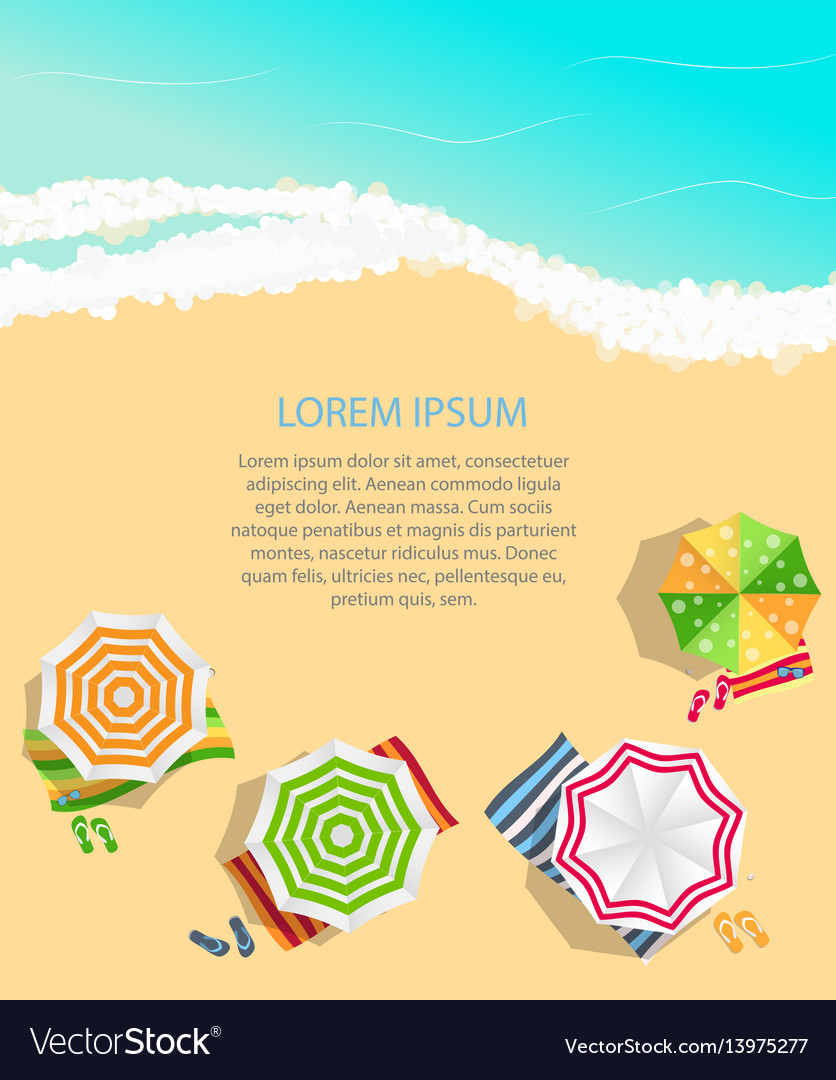 Summer time background sunny beach in flat design