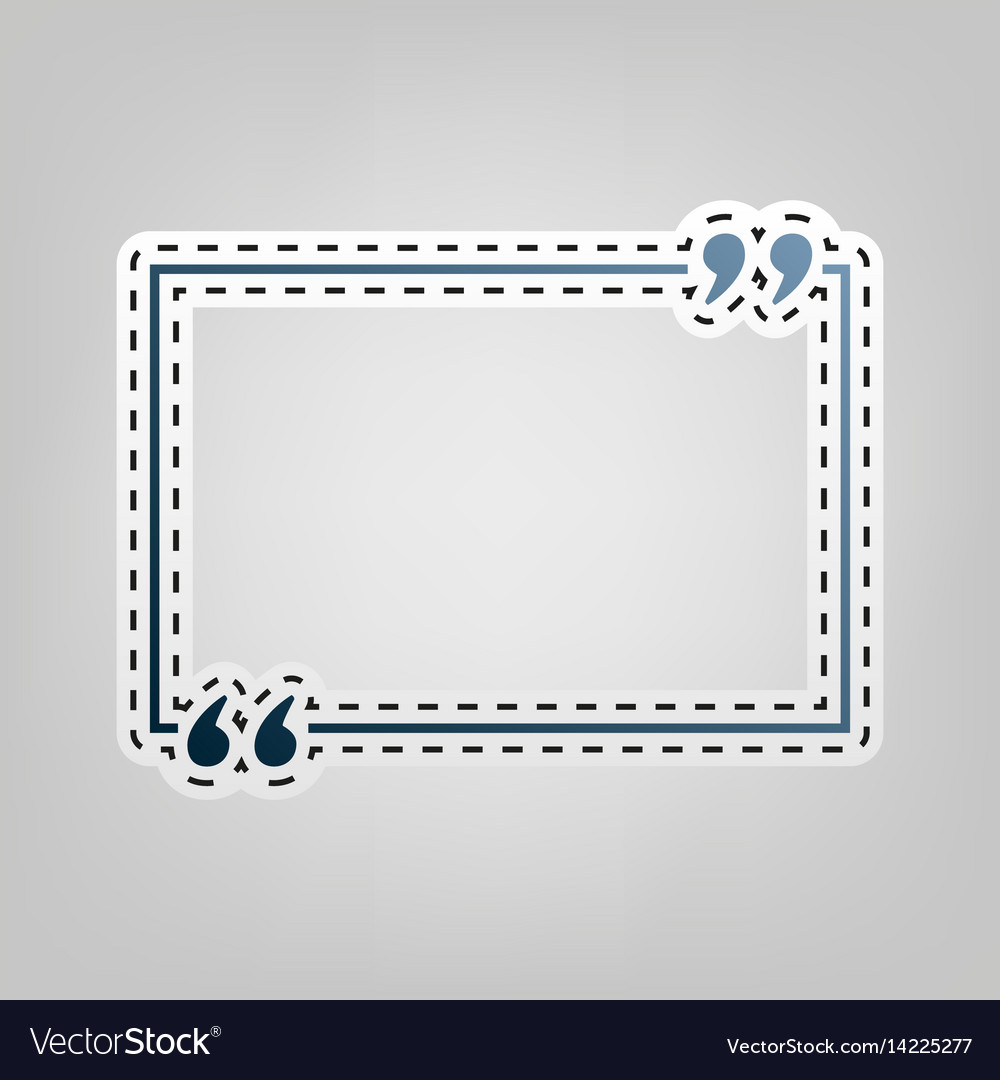 Text quote sign blue icon with outline
