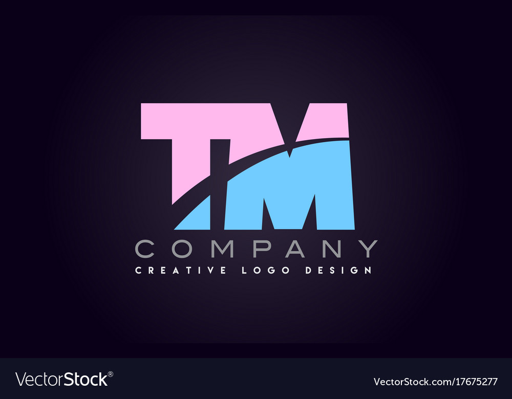 Tm alphabet letter join joined letter logo design vector image