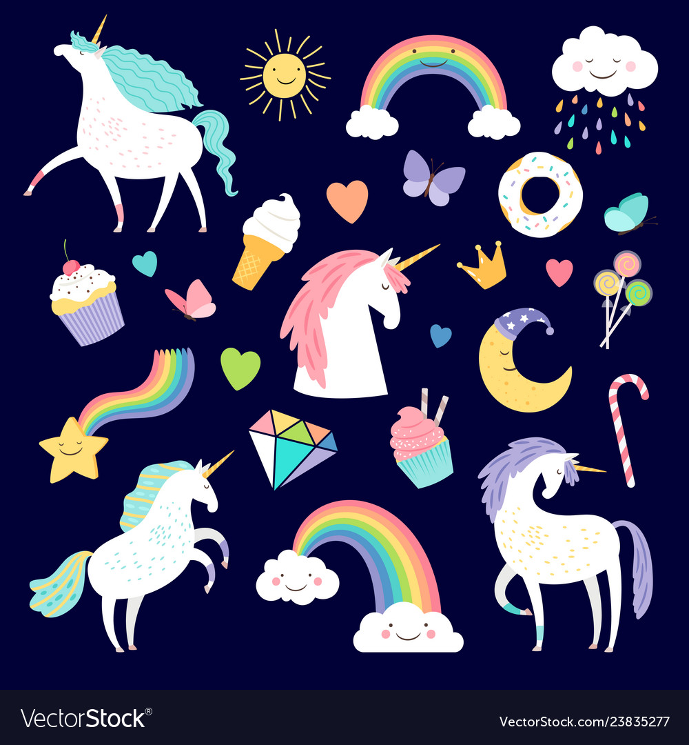 Unicorn and girlish elements rainbow brilliant