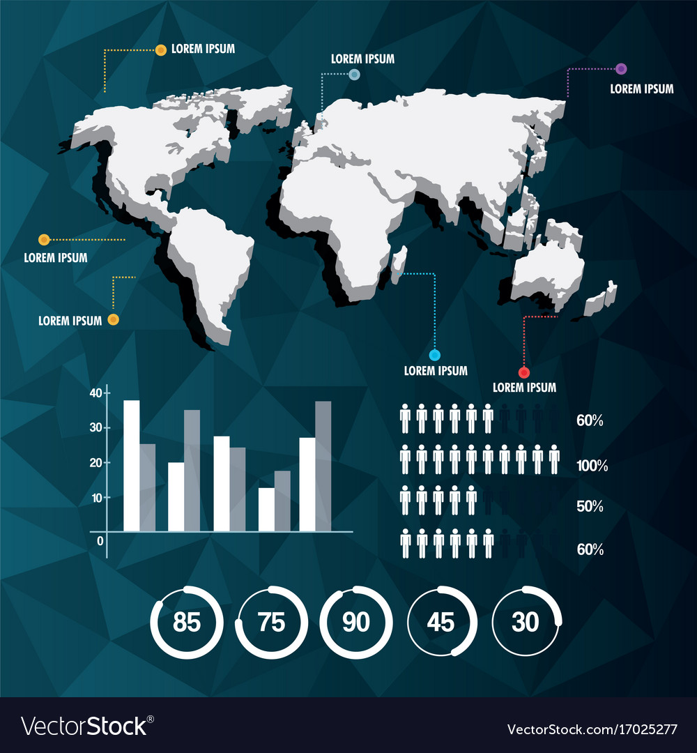 World map infographic demographic report data with vector image
