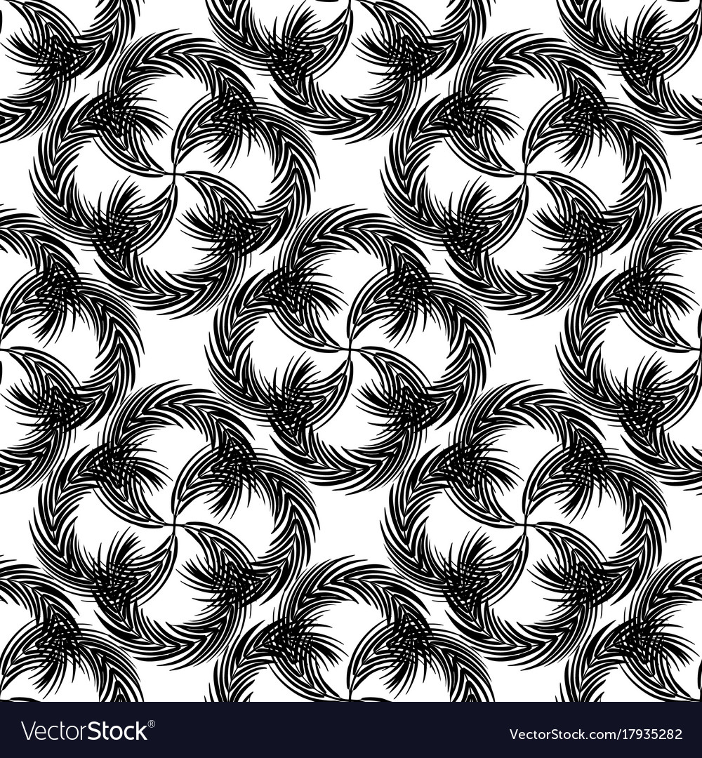 Abstract seamless pattern with twisted palm
